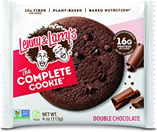 Lenny & Larry's The Complete Cookie, Double Chocolate Chip, Soft Baked, 16g Plant Protein, Vegan, Non-GMO, 4 Ounce Cookie (Pack of 12)