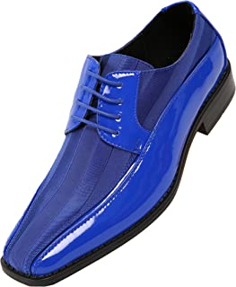 Men's Formal Oxford Dress Shoe Striped Satin and Patent Tuxedo Classic Lace Up, 179 Style