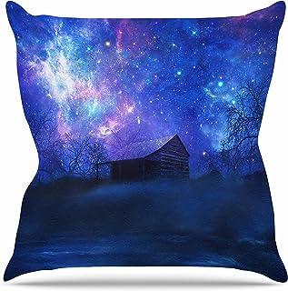 "KESS InHouse VG1012AOP03 18 x 18-Inch ""Viviana Gonzalez Beginning Blue Galaxy"" Outdoor Throw Cushion - Multi-Colour"