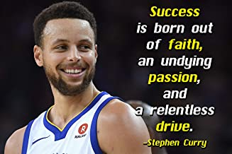 Stephen Curry Poster Quote Cool Golden State Warriors Steph Curry Quotes Posters Basketball Sports Décor Coaching Wall Art Growth Mindset Teacher Educational Teaching Learning Mindsets Quotes P059