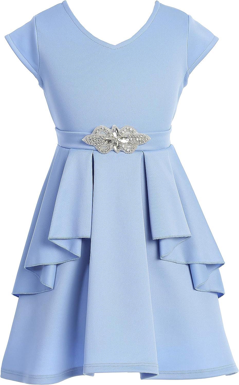 Little Girl Cap Sleeve V Neck Princess Wedding Junior Flower Girl Dress 4-14 USA