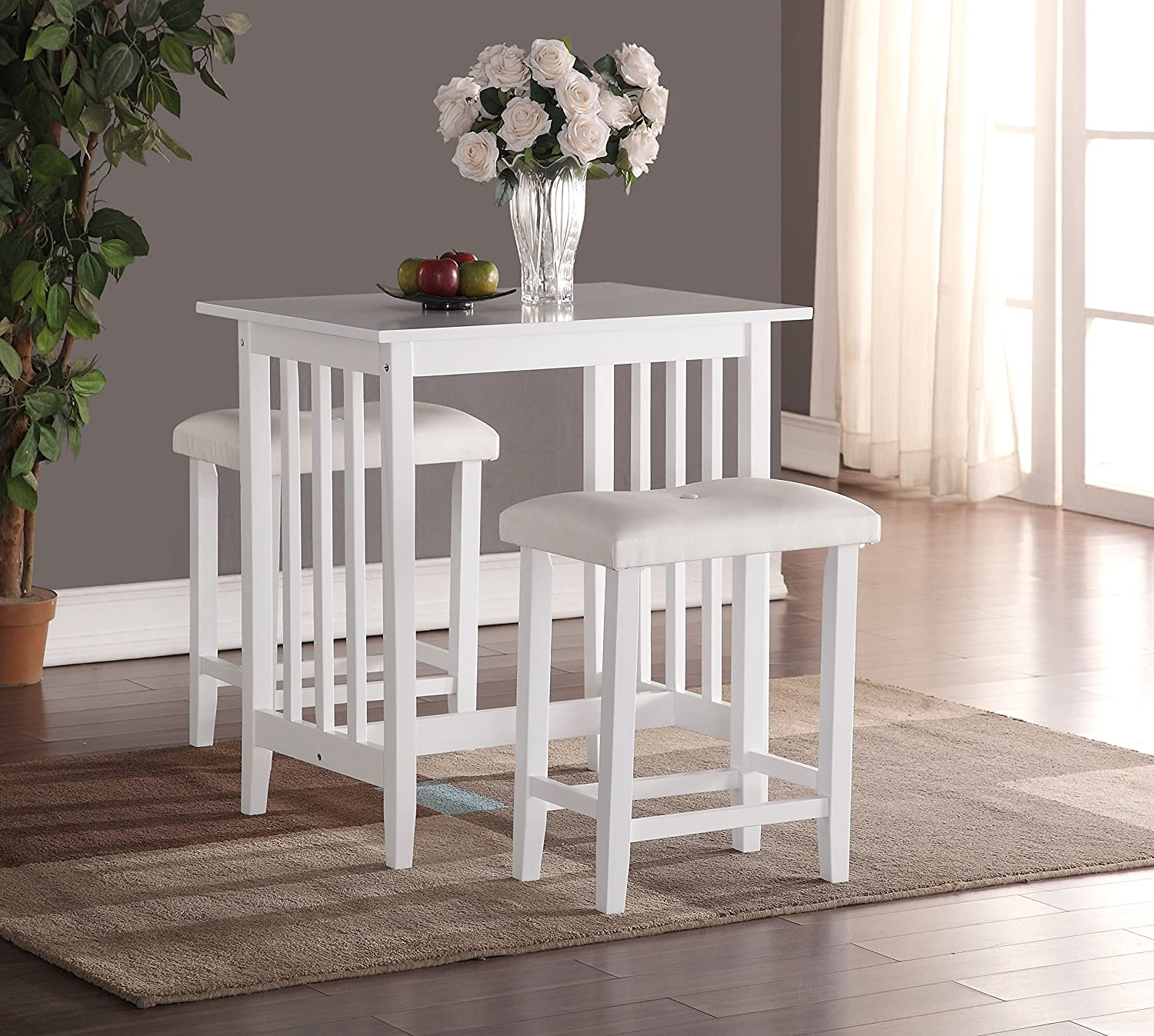 Roundhill Furniture 3 Piece Counter Height Dining Set With Saddleback Stools White Table Chair Sets