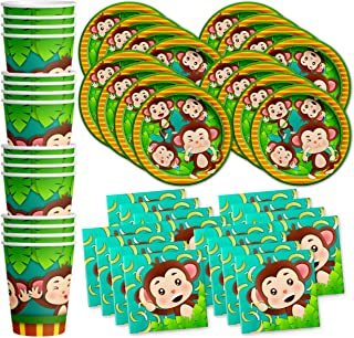 Monkey Birthday Party Supplies Set Plates Napkins Cups Tableware Kit for 16