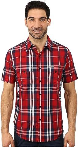 Slim Fit Short Sleeve Plaid Sport Shirt