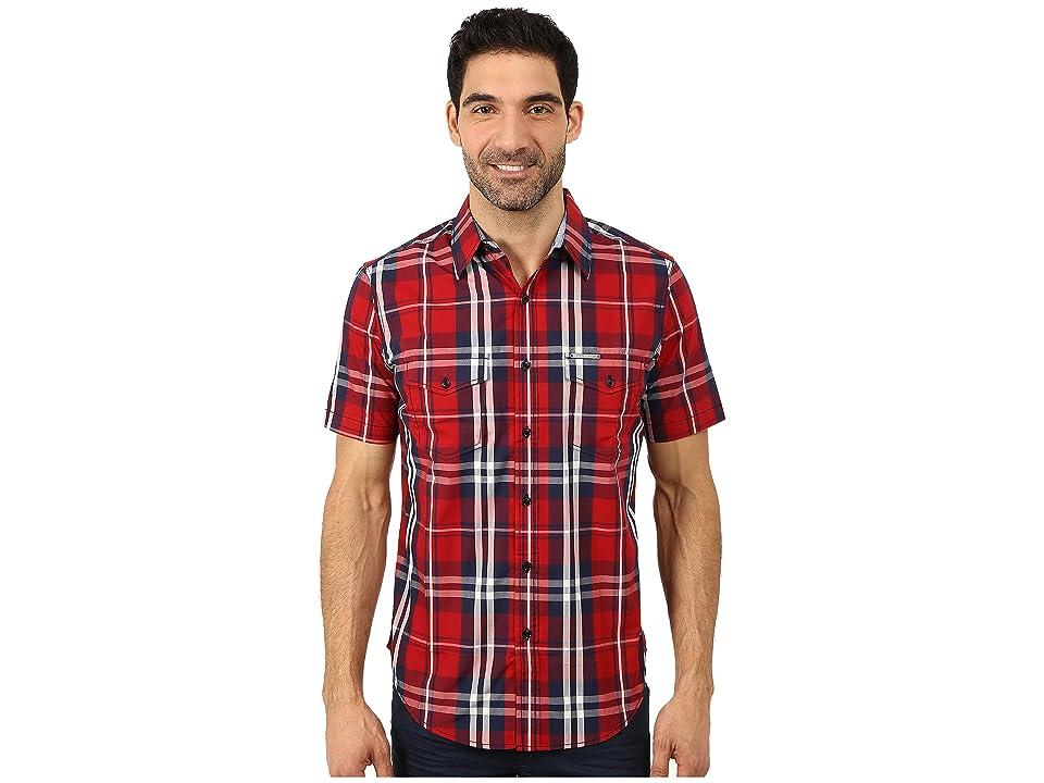 U.S. POLO ASSN. Slim Fit Short Sleeve Plaid Sport Shirt (Apple Cinnamon) Men
