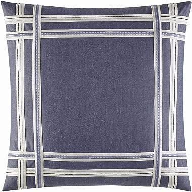 "Nautica Home   Fairwater Collection   100% Cotton Mediterranean Inspired Design Decorative Throw Pillow, Hidden Zipper Closure, Easy Care Machine Washable, 18"" x 18"", Blue"