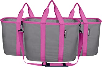 """CleverMade Reusable Grocery Bags, 7033-2410-21073PK, Charcoal/Fuchsia, 20"""" L"""
