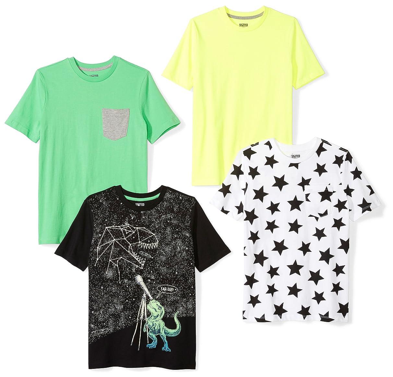 Amazon Brand - Spotted Zebra Boys' Toddler & Kid 4-Pack Short-Sleeve T-Shirts