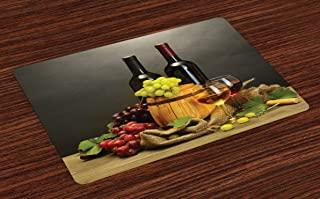 Ambesonne Winery Place Mats Set of 4, Cask Bottles and Glasses of Wine and Ripe Grapes on Wooden Table Picture Print, Washable Fabric Placemats for Dining Table, Standard Size, Grey Taupe