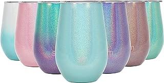Simple Modern Spirit 12oz Wine Tumbler Glass with Lid - Vacuum Coffee Mug Stemless Cup 18/8 Stainless Steel Shimmer: Aqua Aura