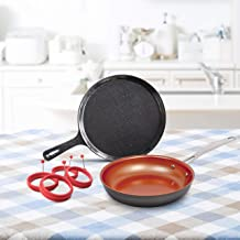 """NuWave 31213 Breakfast Bundle Featuring cast iron griddle, 4 piece egg ring, 9"""" pan, one size, black…"""