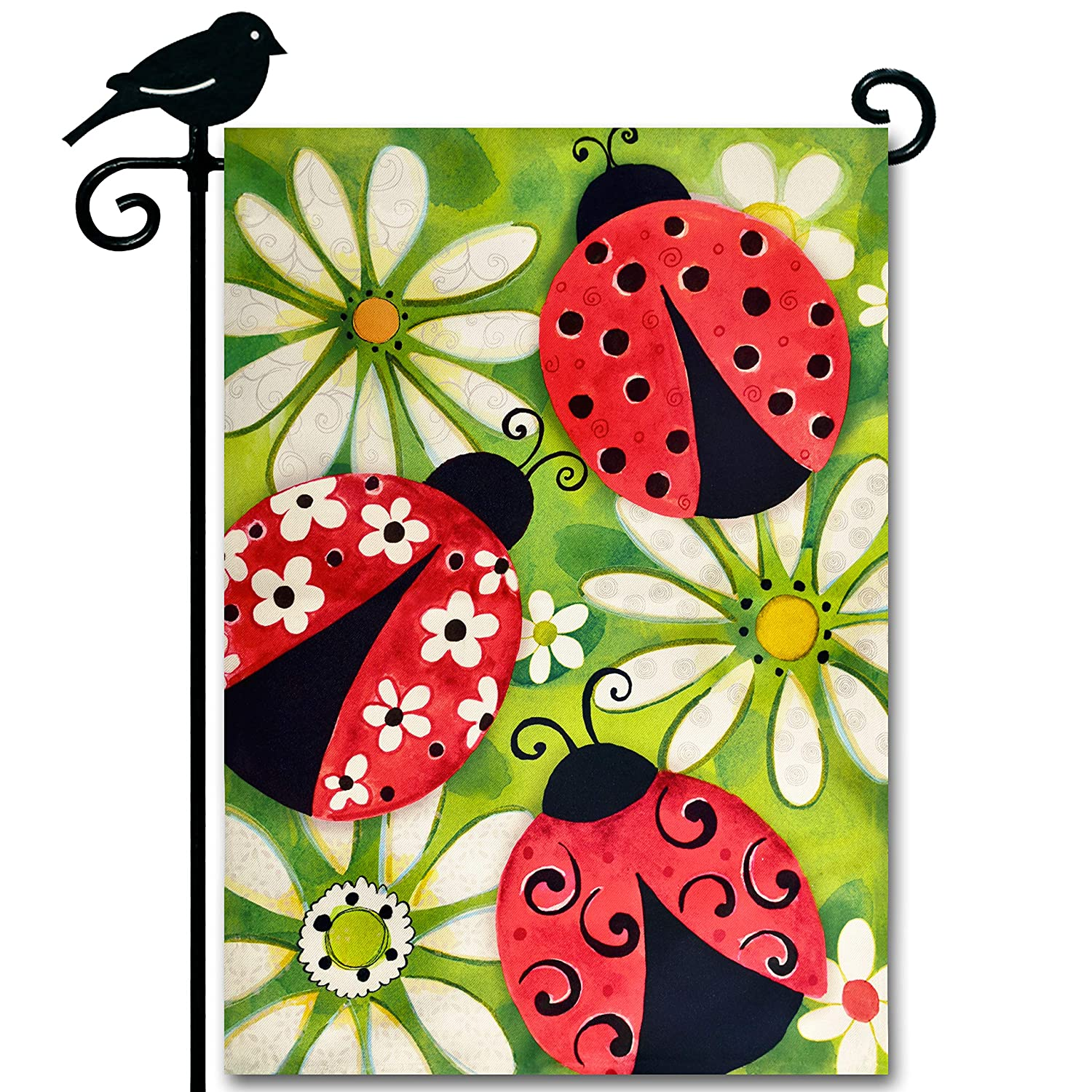 LAYOER Garden flag 12.5 x 18 inches Red ladybug White Flowers daisy outdoor Spring decor