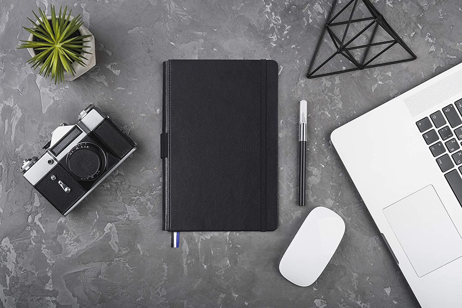 5.25 x 8.25 inch Leather Cover Dotted Journal Bullet Notebook with Pen Holder Black, Dot Grid 100 GSM Premium Paper
