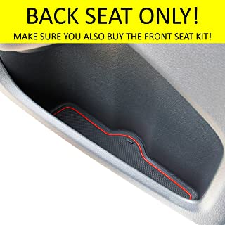 Custom Fit Cup, Door and Center Console Liner Accessories for Honda Civic 2020 2019 2018 2017 2016 4-pc Set (Sedan Back Seat, Red Trim)