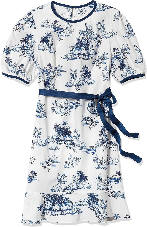 Donna Morgan Women's Petite Short Puff Sleeve Grosgrain Belt Stretch Cotton Poplin Drop Waist Dress