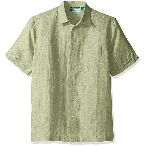 60451802190 Cubavera Men s Short Sleeve 100% Linen Cross-Dyed Button-Down Shirt Pocket