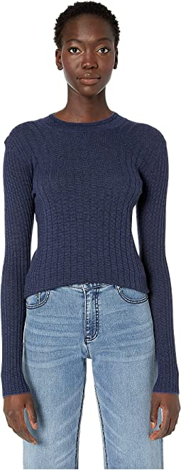 Mixed Rib Long Sleeve Sweater