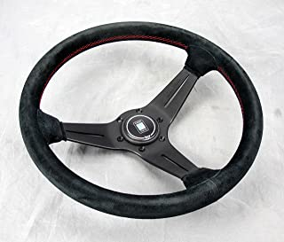 NARDI Steering Wheel - Deep Corn - 350mm (13.78 inches) - Black Suede Leather with Red Stitching - Black Spokes - Type A Horn Button - Part # 6069.35.2094_BlackHB
