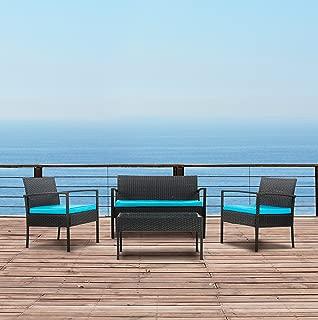 Modern Outdoor Garden, Patio 4 Piece Set - Wicker Sofa Furniture Set (Black / Blue)