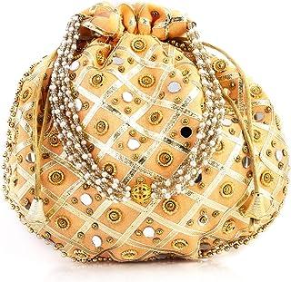 Rolimoli's jaipuri Potli/Hanbag for women wedding festive tote bags Mirror work women fashion accessories