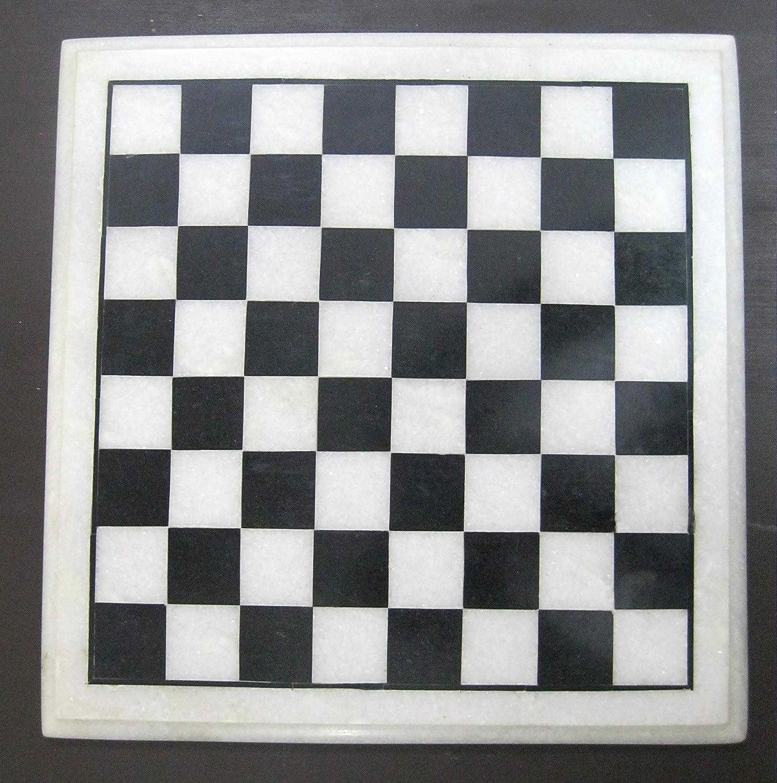 Chess & Coffee Table Top 12  Square Shape White Marble Semi Precious Stone Inlay Box Design