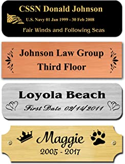 """1"""" H x 3"""" W, Solid Satin Brass Name Plate, Personalized Custom Laser Engraved Nameplate Label Art Tag for Frames Notched Square or Round Corners, Made in USA (3"""" Wide)"""