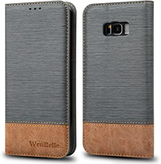 for Galaxy S8 Case,WenBelle [Blazers Series] Stand Feature,Double Layer Shock Absorbing Premium Soft PU Color Matching Leather Wallet Cover Flip Cases for Samsung Galaxy S8 5.8 inch (Grey)