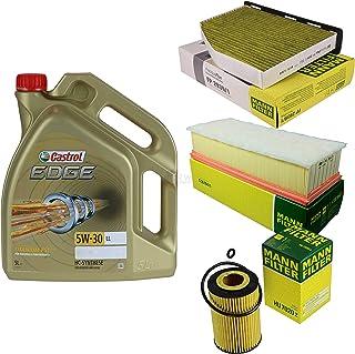 Filter Set Inspektionspaket 5 Liter Motoröl Castrol EDGE Titanium FST 5W 30 LL MANN FILTER Innenraumfilter Luftfilter Ölfilter