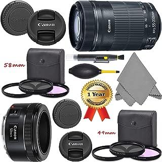 Canon EF 50mm f/1.8 STM Lens (0570C002) + EF-S 55-250mm f/4-5.6 I.S. STM Lens (8546B002) + AOM Pro Kit - International Version (1 Year AOM Warranty)