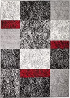 Rio Summit 310 Grey Red Black Area Rug Modern Abstract Many Sizes Available , DOOR MAT 22 inch x 35 inch