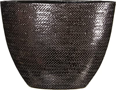 Urban Trends Ceramic Elliptical Vase with SM Pimpled Polished Chrome Finish Copper