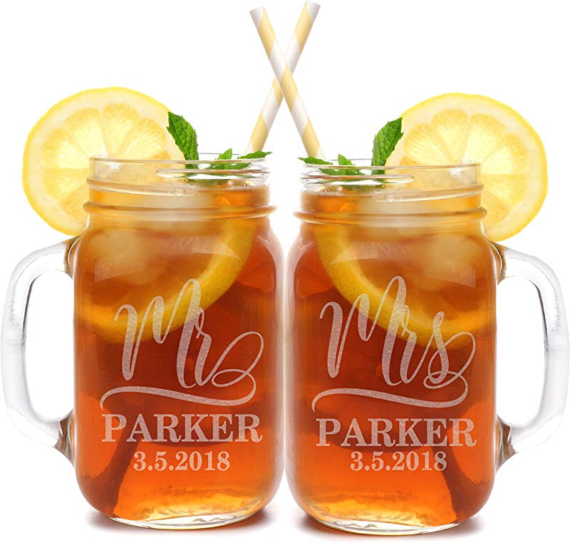 Set Of 2 Personalized Mason Mug Set For Couples Clear Mr And Mrs Mason Jar Glasses Custom Etched His And Her Gifts For Couples Engraved For Free 1