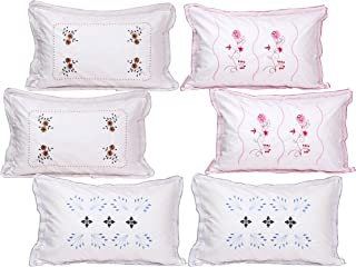 Rj Products™ Cotton Embroided White Luxury Pillow Covers Set of 6