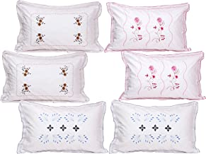 Rj Products® Cotton Embroided White Pillow Cover (Set of 6) Flower Leaf Pattern -Luxury Pillow Covers