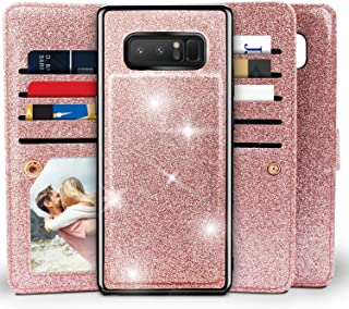 Galaxy Note 8 Wallet Case, Miss Arts Detachable Magnetic Slim Case with Car Mount Holder, 9 Card/Cash Slots, Wrist Strap, PU Leather Cover for Samsung Galaxy Note 8 -Rose Gold