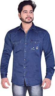 Carbone Denim Slim Fit Solid Full Sleeve Shirts for Men's