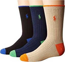 Polo Ralph Lauren - Dress Rib Slack with Heel/Toe 3-Pack (Toddler/Little Kid)