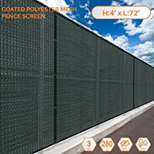 TANG Sunshades Depot 4'x72' FT Green Breathable Vinyl Coated Polyester Mesh Screen Residential Commercial Premium Privacy Fence Screen Customize 3 Years Warranty 280 GSM 80% Blockage