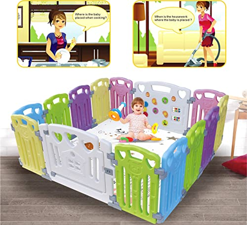 Baby Playpen Kids Activity Centre Safety Play Yard Home Indoor Outdoor New Pen (multicolour, Classic set 14 panel) product image