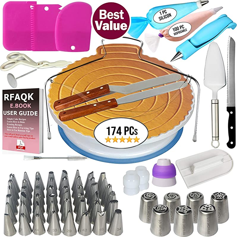 174 PCs Cake Decorating Supplies Kit For Beginners 1 Turntable Stand Cake Server Knife Set 48 Numbered Easy To Use Icing Tips With Pattern Chart And E Book 7 Russian Piping Nozzles 2 Spatulas