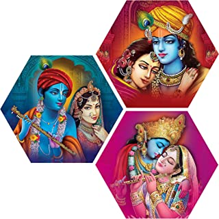 ART FUTURE/Set Of 3/Radha Radhe Krishna Paintings With Frame/Modern Art/Wall Painting/Wall Painting In Home & Kitchen/Wall...