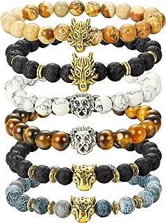 6PCS Mens Bead Bracelets Set Dragon/Lion/Panther Charm Lava Rock Natural Stone Bracelet, 8MM