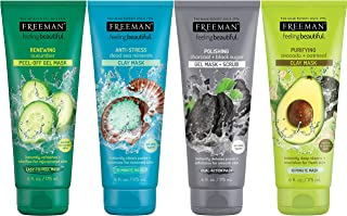 Freeman Facial Mask Variety Pack: Oil Absorbing Clay, Renewing and Moisturizing Peel Off, Polishing Charcoal Beauty Face M...