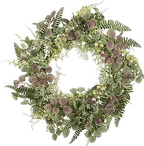 18 inch Artificial Fern Spring Door Wreath Welcome Greenery Front Door Wreath Green Wreath for Wedding Wall Home Decor