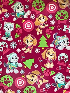 Golden Gift Box Paw Patrol Christmas Wrapping Paper - Featuring The Pups Marshall, Chase, Rocky, Zuma, Skye, Rubble Pawpatrol Gift Wrap Paper - 1 Roll (Pink Paw Patrol, 60sf)