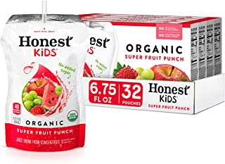 Honest Kids Super Fruit Punch Organic Fruit Juice Drink, 6.75 Fl Oz, 32 Pack