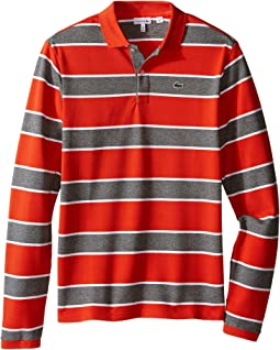 Long Sleeve Bold Striped Heavy Pique Polo (Toddler/Little Kids/Big Kids)