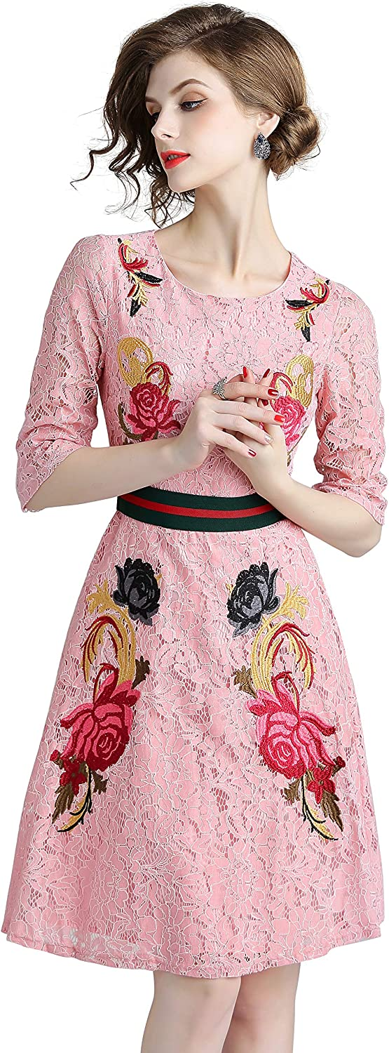 Women's 3/4 Sleeve Flamingo Embroidery Lace Cocktail Party Skater Dress Pink