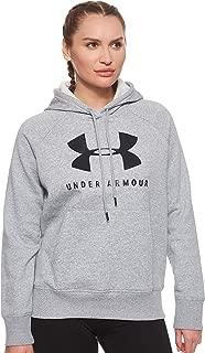Under Armour Women's Rival Fleece Sportstyle Graphic Hoodie, Grey (Steel Medium Heather/Black), Small