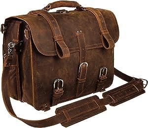 TUZECH Men's Retro Vintage Full Grain Handmade Leather office Briefcase Shoulder Messenger Bag Fit (16 Inches)